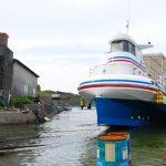 船舶ドック、ガイヤナ。船の陸揚げ作業