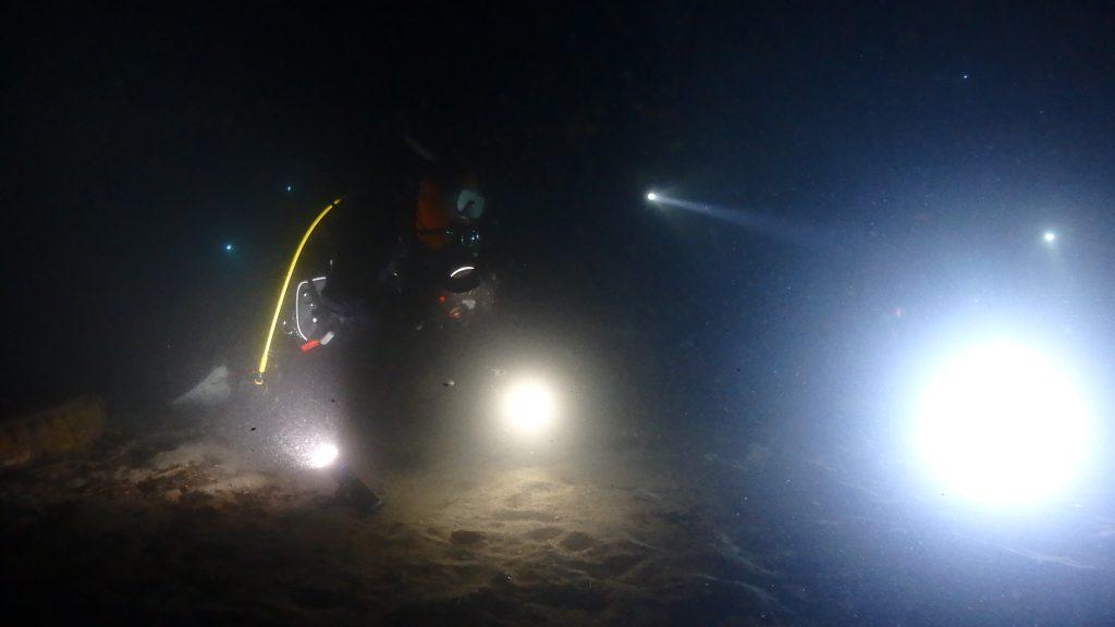 ライトトラップに群がる魚を撮影しに、ダイバーが集まる