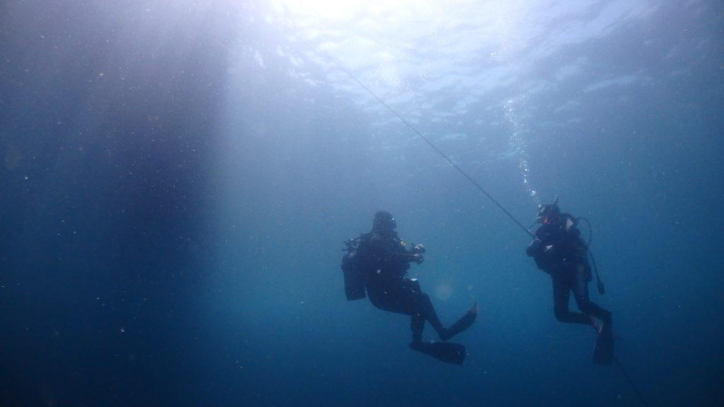 ダイビングの最後には安全停止。透明度も回復して、遠くのダイバーまでもが良く見えています。