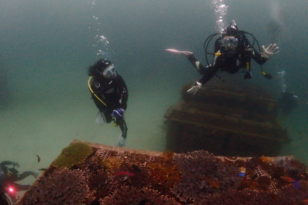 高さ3m程ある漁礁の上を通過する際に、カメラにポーズをとる女性ダイバー。