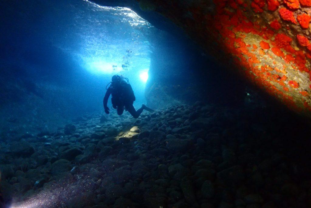 ダイビングチームが撮影した小横島の洞窟の映像。水面が青く幻想的に光る洞窟内は皆さんが気に入っている場所の一つです。