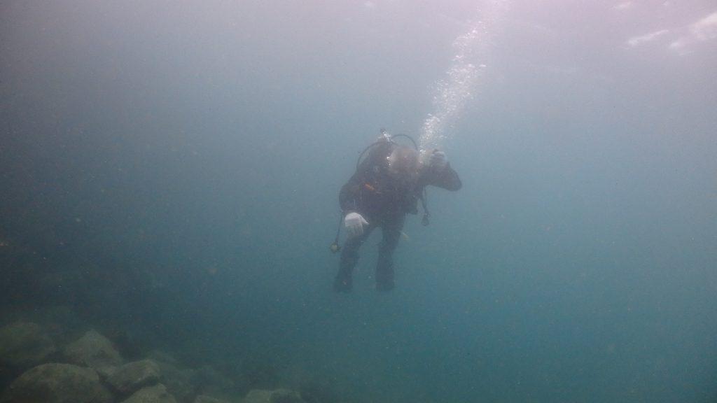 中性浮力が取れ始めて、浮き上がった瞬間にBCから空気を抜けるようになった初心者ダイバー。