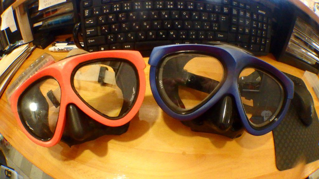 GULLのマンティス5は昔から私が使っていたマスクです。左がオレンジで、新しくブルーに交換しました。